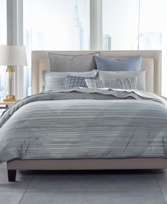 Cotton Diamond Stripe Twin Duvet Cover, Created for Macy's