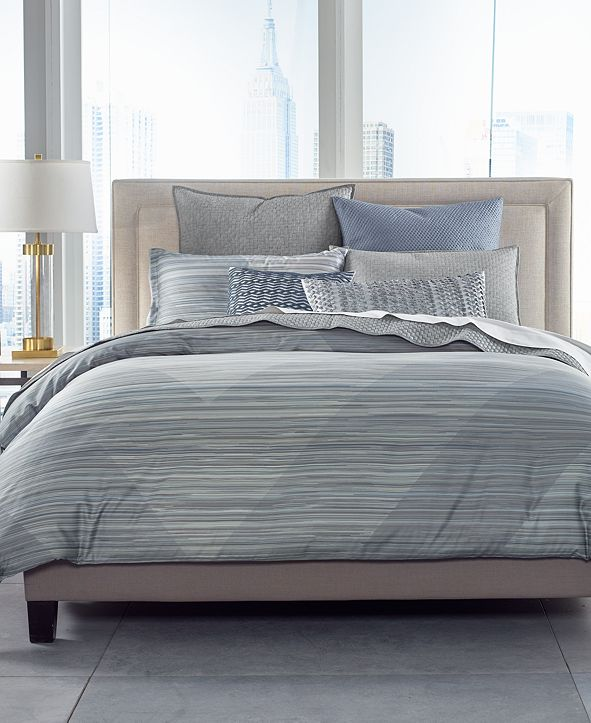Hotel Collection Cotton Diamond Stripe Twin Duvet Cover, Created for Macy's