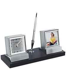 Executive Suite Silver-Tone Metal & Black Oak Desk Clock
