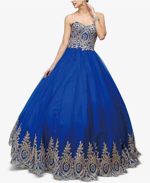 Dancing Gown Queen Appliqué Blue Embellished Juniors' Royal qn4xSqzPr
