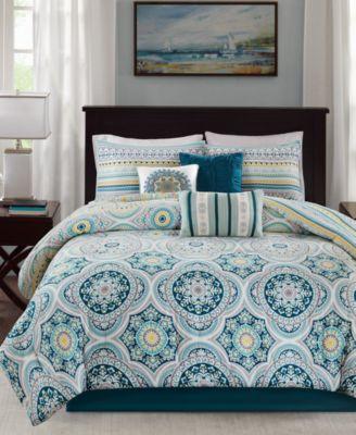 Mercia 7-Pc. Cotton Reversible Queen Comforter Set