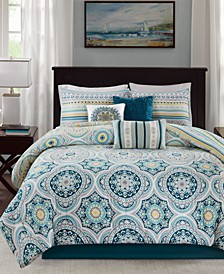 Mercia 7-Pc. Cotton Reversible Queen Comforter Set