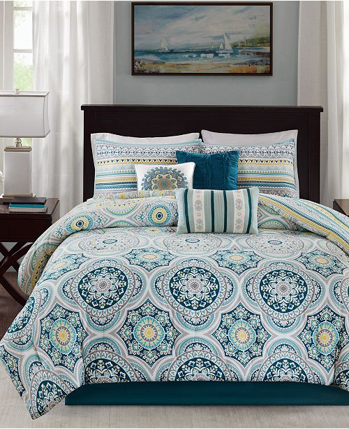 Madison Park Mercia 7-Pc. Cotton Reversible King Comforter Set