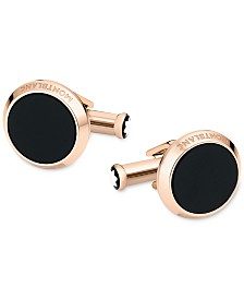 Montblanc Men's Meisterstück Red-Gold Stainless Steel and Onyx Inlay Cuff Links
