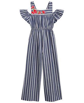 Bonnie Jean Cold Shoulder Striped Cotton Jumpsuit, Big Girls