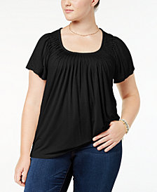 Style & Co Plus Size Pleated Top, Created for Macy's