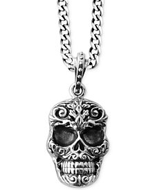 King Baby Men's Carved Skull Pendant Necklace in Sterling Silver