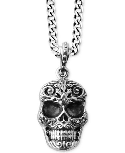 King baby mens carved skull pendant necklace in sterling silver king baby mens carved skull pendant necklace in sterling silver mozeypictures Images
