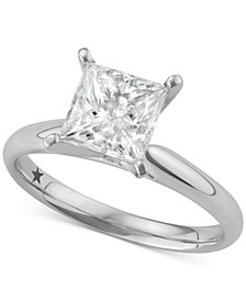 Macy's Star Signature Diamond™ Princess Solitaire Engagement Ring (2 ct. t.w.) in 14k White Gold