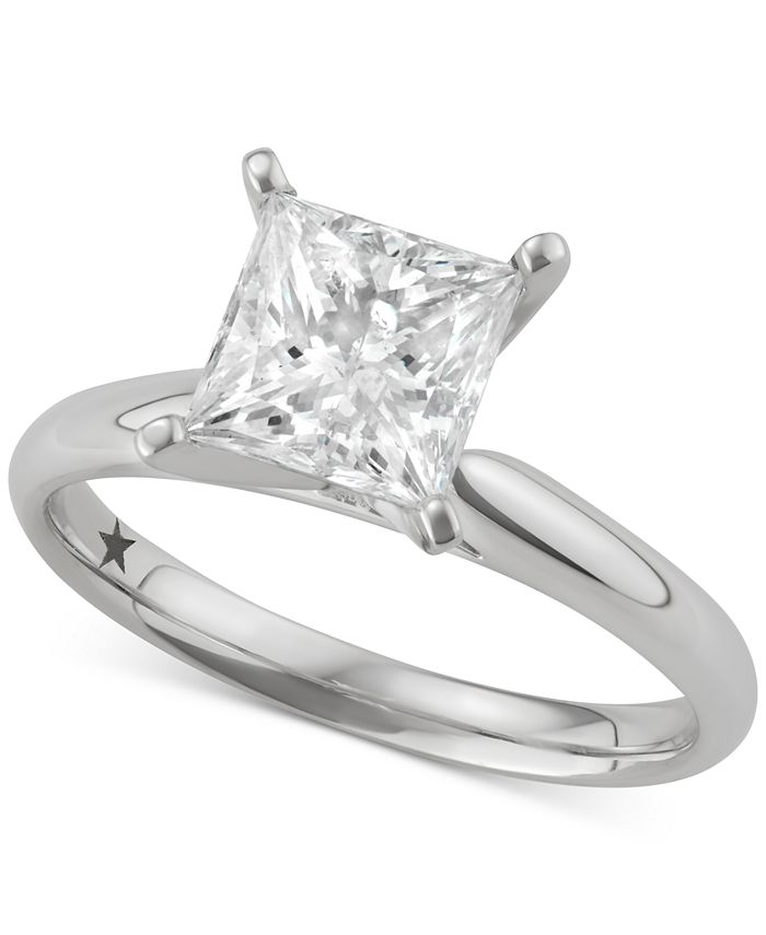 Macy's Star Signature Diamond - Certified ™ Princess Solitaire Engagement Ring (2 ct. t.w.) in 14k White Gold