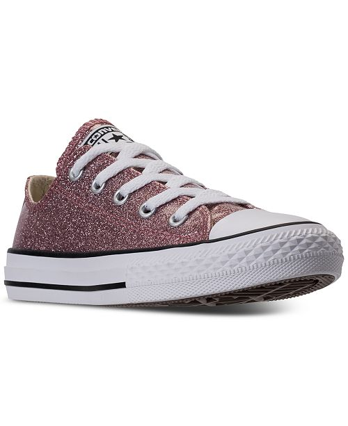 63ff5458bc0421 ... Converse Little Girls  Chuck Taylor All Star Ox Glitter Casual Sneakers  from Finish ...