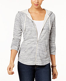 Style & Co Plus Size Space-Dyed Hooded Jacket, Created for Macy's