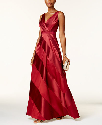 Adrianna Papell Satin-Panel Gown