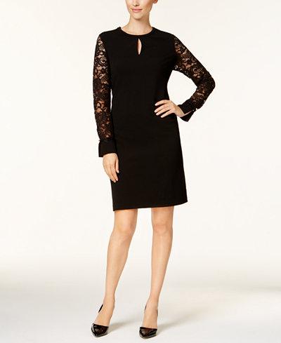Charter Club Petite Lace-Sleeve Keyhole Dress, Created for Macy's