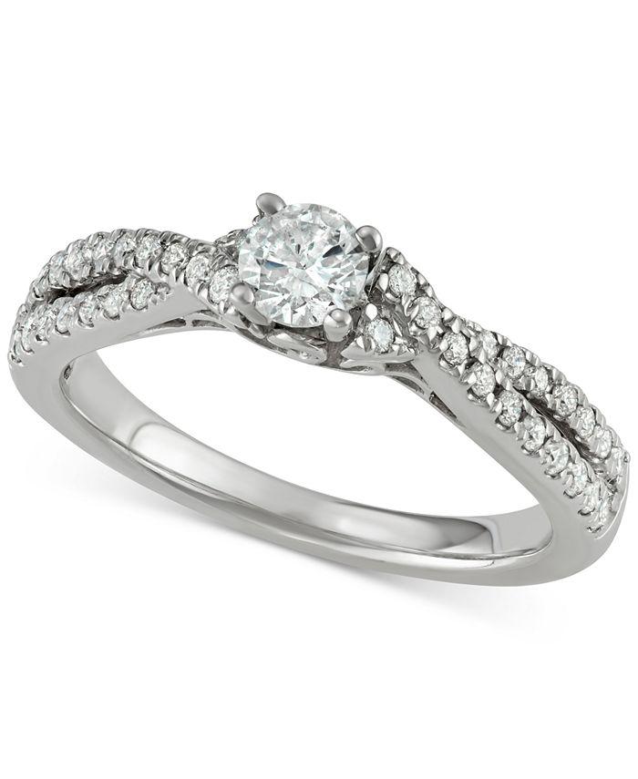 Macy's - Diamond Twist Engagement Ring (5/8 ct. t.w.) in 14k White Gold