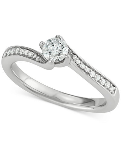 Diamond Cluster Twist Engagement Ring (1/2 ct. t.w.) in 14k White Gold