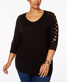 Belldini Plus Size Grommeted Dolman-Sleeve Tunic Top