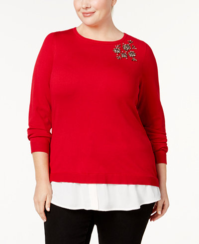 Charter Club Plus Size Layered-Look Brooch Sweater, Created for Macy's