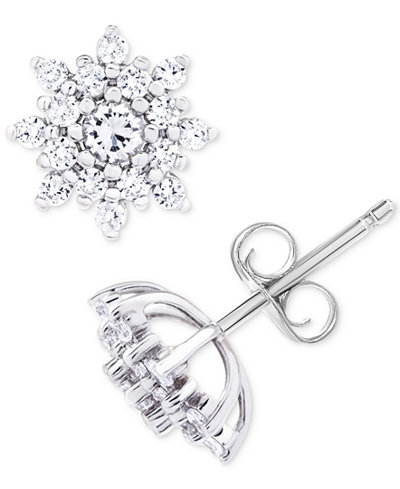 Diamond Star Cluster Stud Earrings (1 ct. t.w.) in 14k White Gold