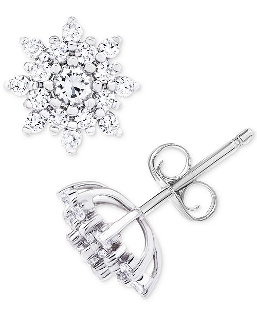 Diamond Star Cer Stud Earrings 1 Ct T W In 14k White Gold