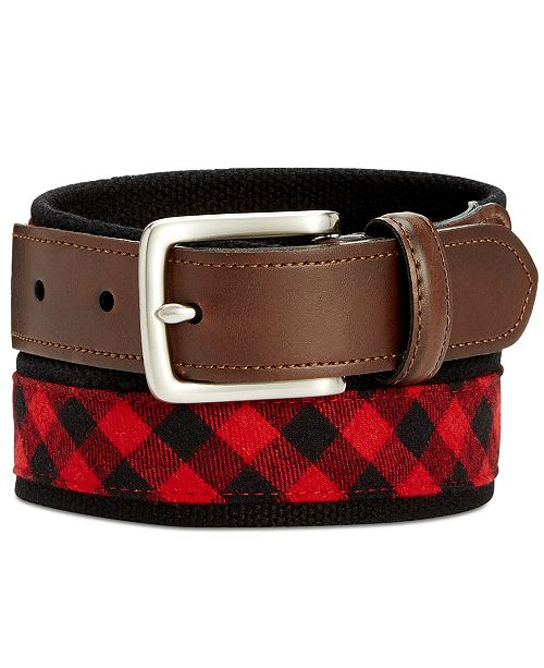 Club Room Men's Buffalo-Check Webbed Belt, Created for Macy's
