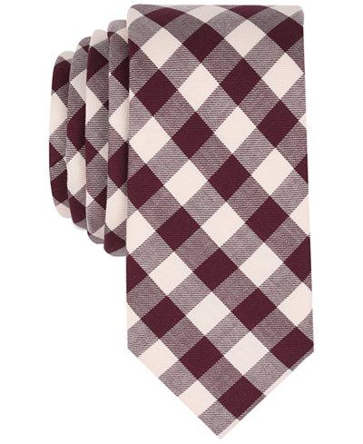 Bar III Men's Vintage Gingham Skinny Tie, Created for Macy's