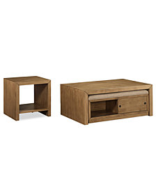 CLOSEOUT! Abilene Nesting Table 2-Pc. Set (Coffee Table w/ 2 Benches & End Table)
