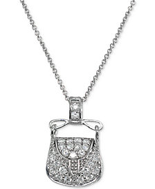 Giani Bernini Cubic Zirconia Purse Pendant Necklace in Sterling Silver, Created for Macy's