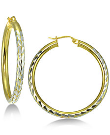 Giani Bernini Two-Tone Hoop Earrings in Sterling Silver & 18k Gold-Plated Sterling Silver, Created for Macy's