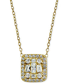 "Giani Bernini Cubic Zirconia 18K Gold Plated Sterling Silver Cluster Square Pendant Necklace 18"", Created for Macy's"