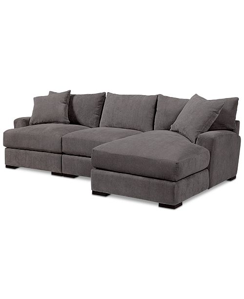 Furniture Rhyder 3-Pc. Fabric Sectional Sofa with Chaise, Created ...