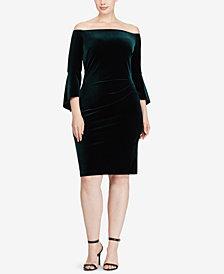 Lauren Ralph Lauren Plus Size Off-The-Shoulder Velvet Dress