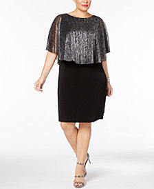 Connected Plus Size Metallic Cape Dress