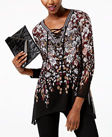 I.N.C. Petite Printed Lace-Up Tunic, Created for Macy's