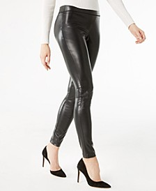 INC Petite Faux-Leather Skinny Pants, Created for Macy's