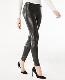 I.N.C. Petite Faux-Leather Skinny Pants, Created for Macy's