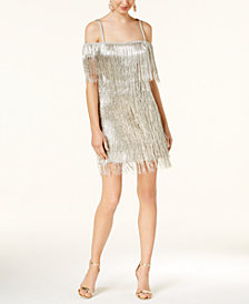 Rachel Zoe Off-The-Shoulder Fringe Dress