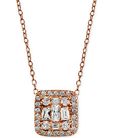 "Giani Bernini Cubic Zirconia 18K Rose-Gold Plated Sterling Silver Cluster Square Pendant Necklace 18"", Created for Macy's"