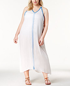 Raviya Plus Size Crochet-Trim Maxi Cover-Up Dress