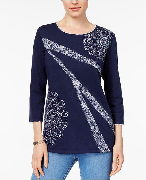 Montego Bay Petite Embroidered Embellished Top