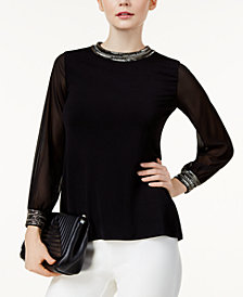Alfani Petite Beaded Sheer-Sleeve Top, Created for Macy's