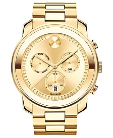 Movado Men's Swiss BOLD Gold-Tone Stainless Steel Bracelet Watch  48mm