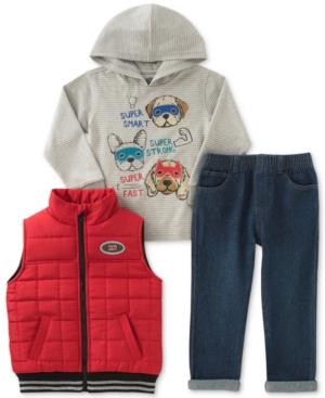 Kids Headquarters 3Pc Hooded Shirt Vest  Pants Set Toddler Boys (2T5T)