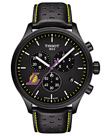 Tissot Men's Swiss Chronograph Chrono XL NBA Los Angeles Lakers Black Leather Strap Watch 45mm