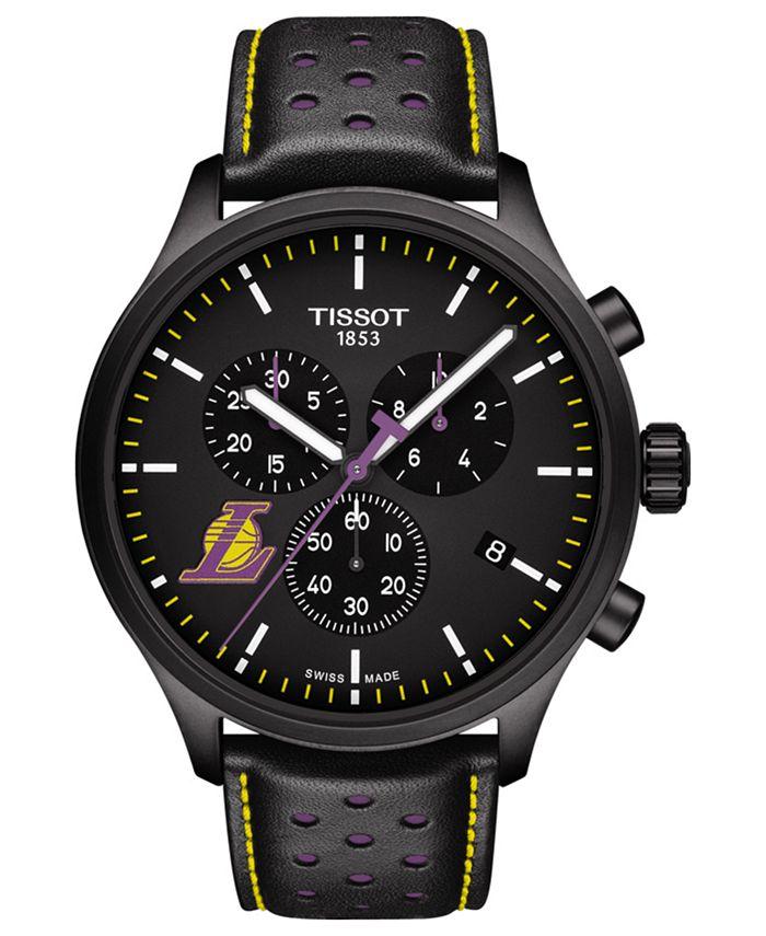 Tissot - Men's Swiss Chronograph Chrono XL NBA Los Angeles Lakers Black Leather Strap Watch 45mm