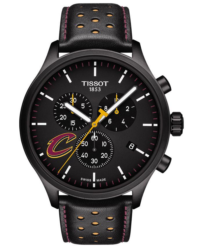 Tissot - Men's Swiss Chronograph Chrono XL NBA Cleveland Cavaliers Black Leather Strap Watch 45mm