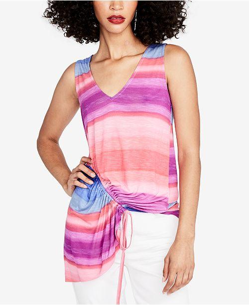 RACHEL Rachel Roy Striped Asymmetrical Top, Created for Macy's