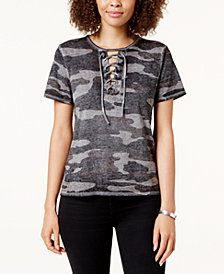 Lucky Brand Camouflage-Print Lace-Up T-Shirt
