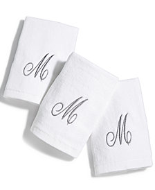 Avanti Cotton 3-Pc. Silver Embroidered Monogram Fingertip Towel Set