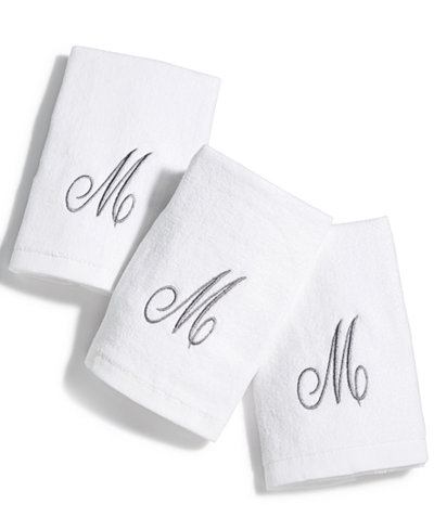 Avanti Cotton 3-Pc. Silver Embroidered Monogram Fingertip Towel Set
